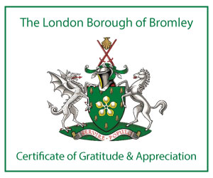 London Borough of Bromely Certificate of Gratitude for Nursing Care